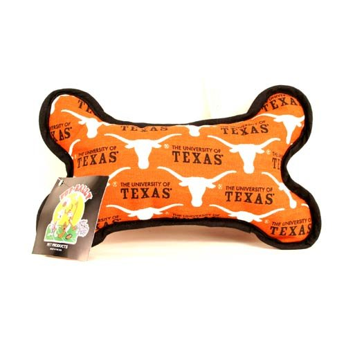 NCAA Officially Licensed Texas Longhorns Squeaky Plush Dog Bone Toy
