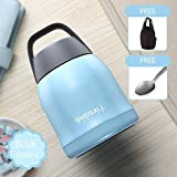 """Goodeserve"" 20 oz Vacuum Flask Lunch Box, Thermos Jar Stainless Steel Bento Box, Food/Soup Container with Spoon and Carry Bag 600ML GD8452 (Sky-Blue)"