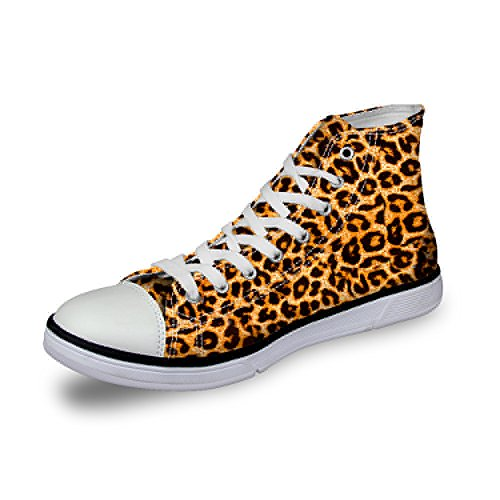d Print Women's High-Top Canvas Lace Up Flats Sneaker US 11 (Leopard Print High Top)