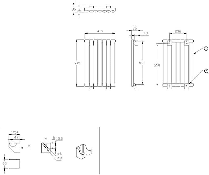 Hudson Reed Vitality Blanc 63,5 x 83,4cm Radiateur Design Horizontal