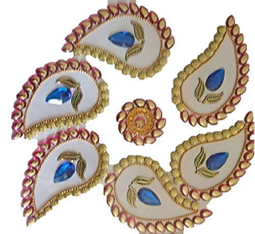 Rangoli and Diwali decorations Onam Speciality Designer sticker Rangoli craft handmade sequins and stone studded decoration for table top and floor, folk art from India (purple)