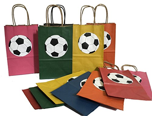 Soccer Theme Goodie Bags Assorted Colors 12PK by APINATA4U