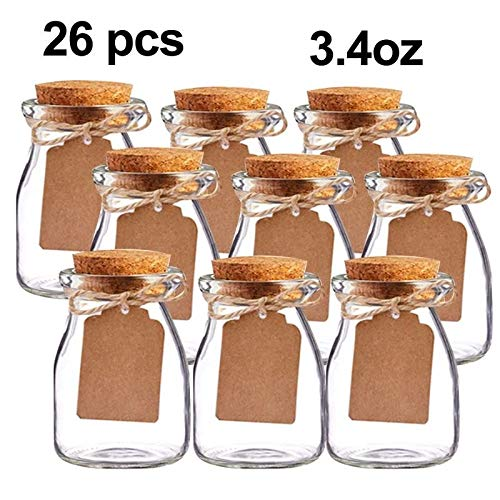 - GuiHe 26Packs of Small Glass Bottles with Cork Stopper Tiny Clear Vials,Escort Card and Twine DIY for Art Crafts Projects Decoration Party Supplies and Wedding Party Favors(3.4OZ)