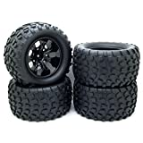 12mm Hub Wheel Rim & Tires 1/10 Off-Road RC Car Buggy Tyre w/ Foam Inserts Black Pack of 4
