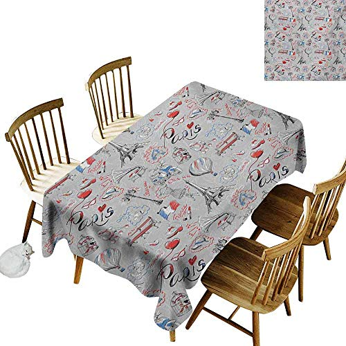 Mannwarehouse Paris Polyester Tablecloth France Themed Image with French Flag Dogs Eiffel Tower Croissant Vintage City of Love Party W54 x L90 Multicolor -