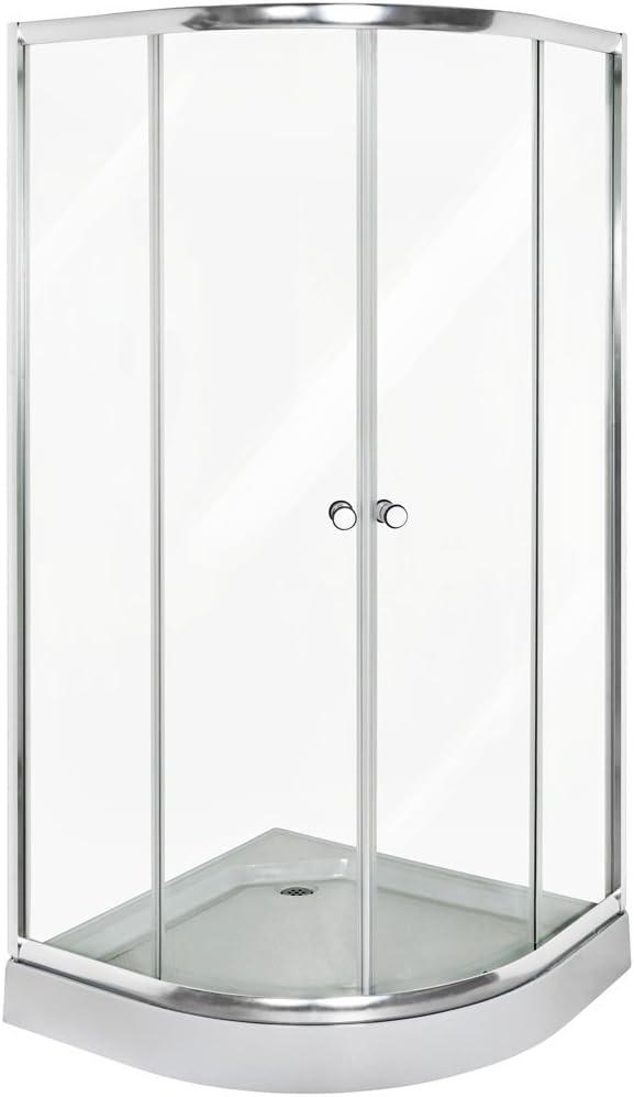 TecTake Cabina de Ducha Angular Bandeja mampara 90x90cm de Esquina Circular Cristal: Amazon.es: Hogar
