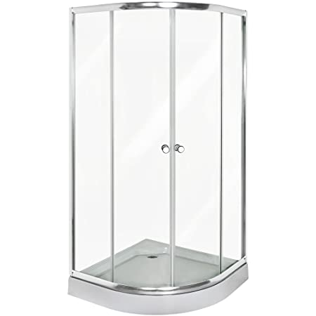TecTake Quarter Round Shower Cubicle Enclosure Bath Cabin Tray 90x90cm  Tempered Glass With Drain Set