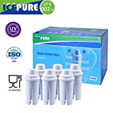 Icepure JFC002 6PACK Pitcher Water Filter Compatible With Classic Filter Replacement Cartridge