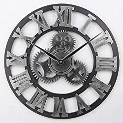 Timelike Large 3D Retro Wall Clock, Silent Non-Ticking Wooden Gear Wall Clock Rustic Vintage Quartz Clocks for Home Living Room Decoration (Silver-Roman Numbers, 18 Inch)