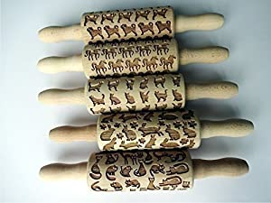 5 ANY pattern Kid Size Rolling Pin SET. Wooden Laser Cut Mini Rolling Pins for cookies, play dough, salt dough or clay. Laser engraved embossing rolling pins for homemade cookies. Choose your patterns