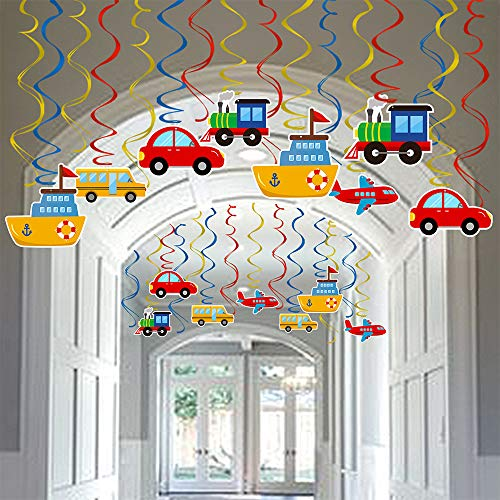 Transportation Party Hanging Swirl Decorations 30 Ct Car Bus Train Plane Ship DIY Hanging Decor for Kids Baby Shower Birthday Party Supplies -