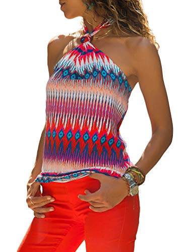 LOSRLY Ladies Sexy Sleeveless Summer Tank Top Halter Neck Boho Printed Multicolored Shirts Color-3 S