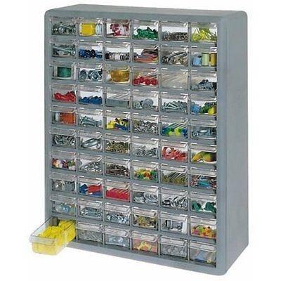 STORAGE ORGANIZER CABINET 60 PLASTIC DRAWER BOXES PARTS CONTAINER BIN TOY GARAGE - US by Balance world