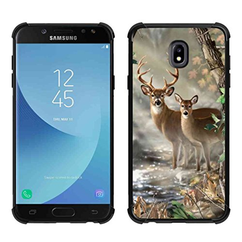 - for Galaxy J3 2018 Case,Galaxy J3 Achieve Case,Galaxy Express/Amp Prime 3 Case,Galaxy J3 V 3rd Gen Case,Galaxy J3 Star Vector Forest Deer Case, ABLOOMBOX Slim Bumper Rubber Protective Case