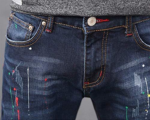 Comodo Dritta In Gamba Battercake Fit Uomo Denim Dritti A Strappati Pantaloni Jeans Da Casual Aspicture Slim TTWBPUn86