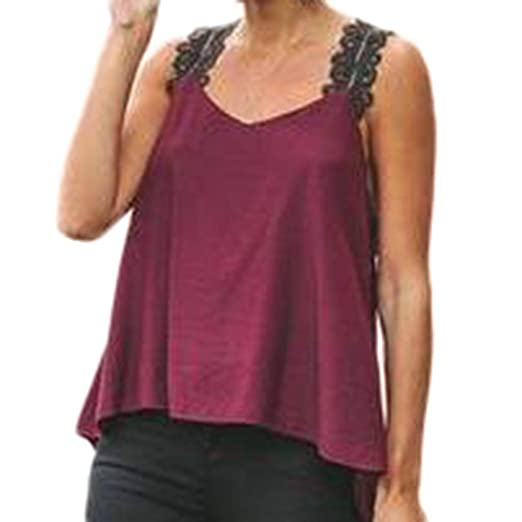 74571bf5cf21a Womens Plus Size Sling Sleeveless V-Neck Lace Solid Vest Blouse Tops Shirt  at Amazon Women s Clothing store