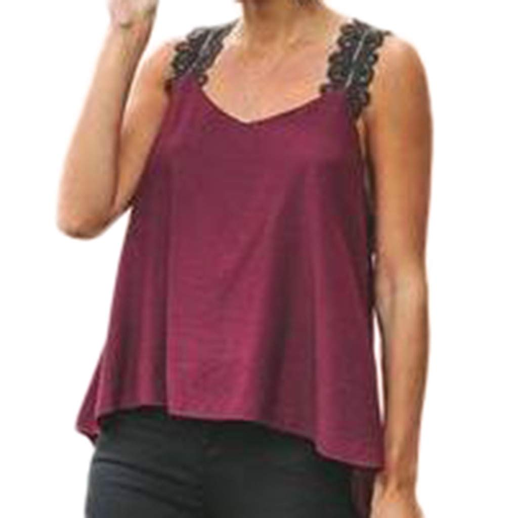 NUWFOR Women Plus Size Sleeveless V-Neck Lace Solid Vest Blouse Pullover Tops Shirt(Wine,US L Bust:26.0-34.6'')