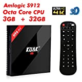 KUAK 2018 Newest Android 7.1 3GB 32GB Amlogic S912 Octa Core TV Box