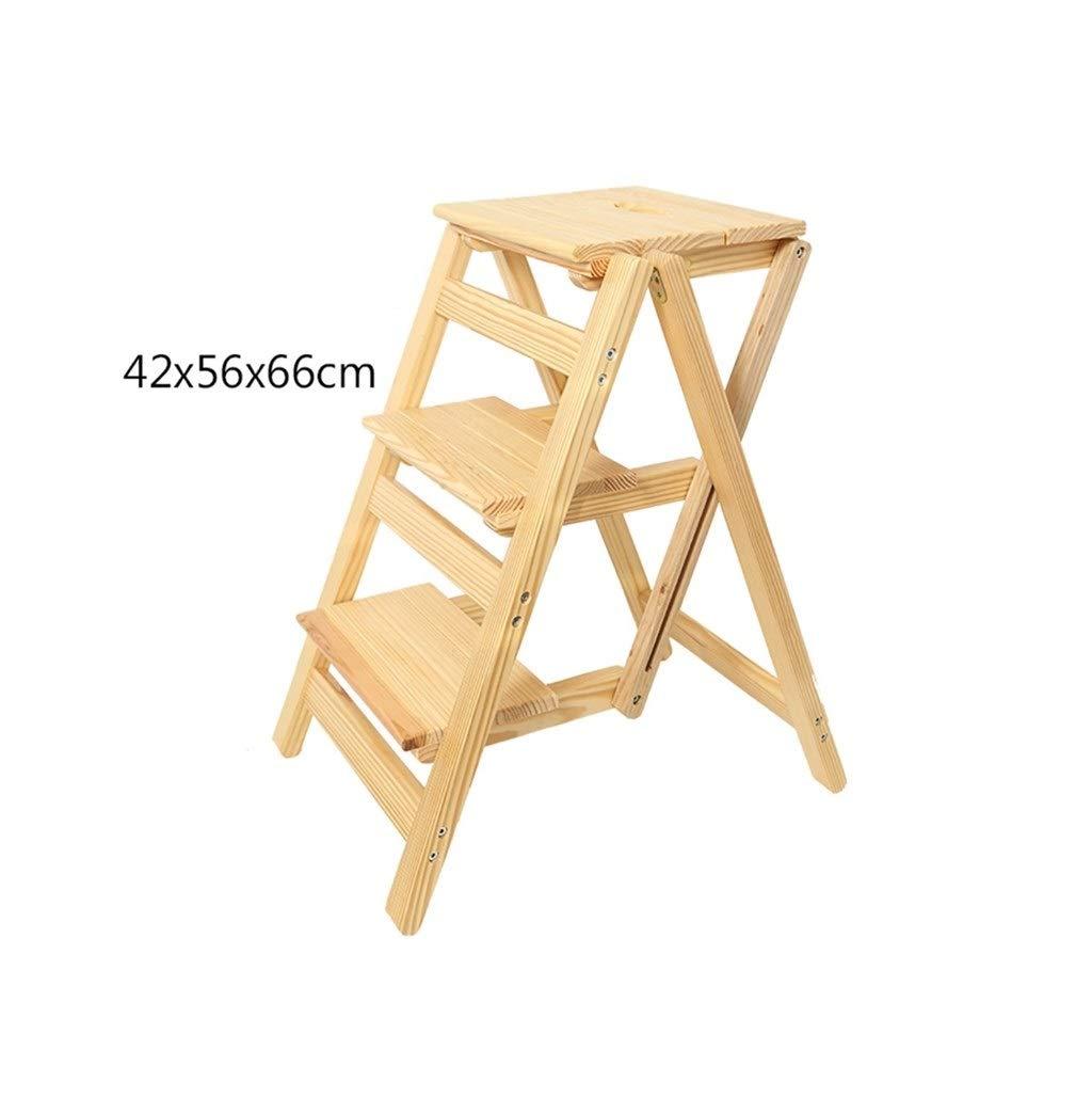 ステップラダーLQQGXL 木製実用ステップ3ステップはしご折りたたみキッチンスツールホームガーデニングツール (色 : 1) B07RKS51C5 1