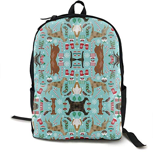 DKFDS Backpacks Greyhound Christmas Dogs Canvas Backpack School Bag Travel ypack]()