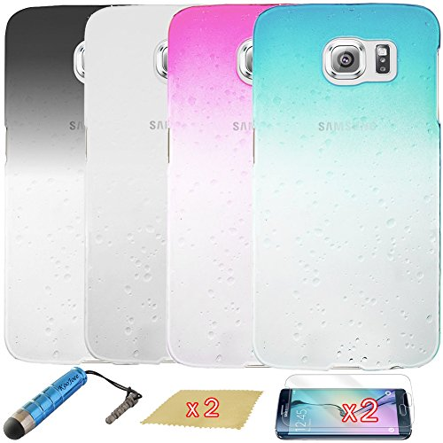 KooJoee® [Galaxy S6 Edge] Combo Protective Cases - Pack of 4 Pieces Clear 3D Waterdrop Raindrop Hard Plastic Skin Back Cover Cases for Samsung Galaxy S6 Edge G925 + One KooJoee Stylus + Two Screen Protectors + Two Microfiber Cloth, Black / White / Sky Blue / Hot Pink