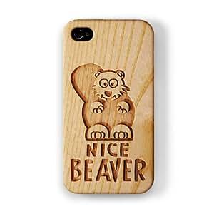 Carved on Wood Effect_Nice Beaver Funda Completa de Alta Calidad con Impresión 3D, Snap-On, Diseño Negro Formato Duro parar Apple® iPhone 4 / 4s de Chargrilled