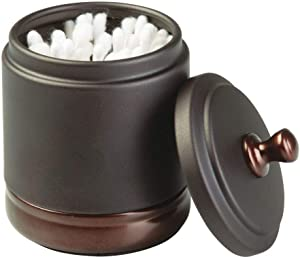 mDesign Metal Bathroom Vanity Canister Jar for Cotton Balls, Swabs, Cosmetic Pads - Two Tone Bronze