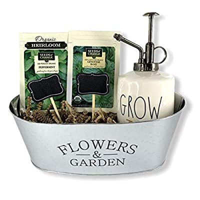Organic Herb Indoor Garden Planter Starter Kit DIY Kitchen Grow Kit with Rae Dunn 'Grow' Plant Mister/Sprayer, Organic Seeds, Silver Tin Planter, and (2) Chalkboard Wood Stakes Plant Labels : Garden & Outdoor