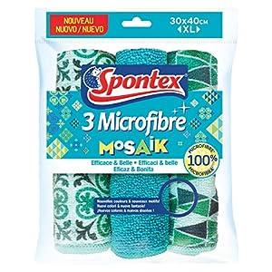 SPONTEX – 3 Lavettes Microfibres Mosaik Décorées- Esthétique, 30x40cm