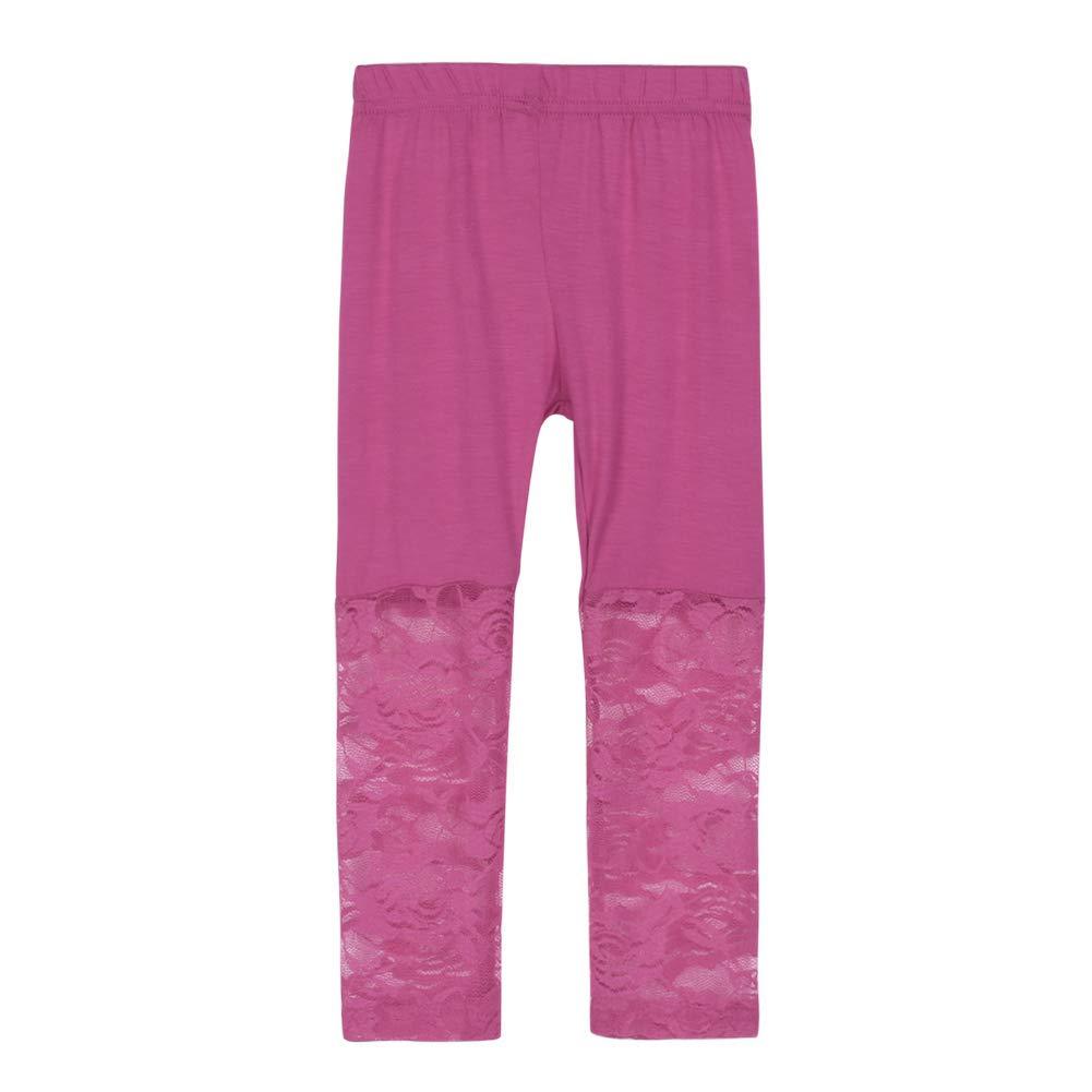 bdf86d089096b Amazon.com: Weixinbuy Kid Baby Girl's Lace Tight Legging Pants Comfy Capri  Summer: Clothing