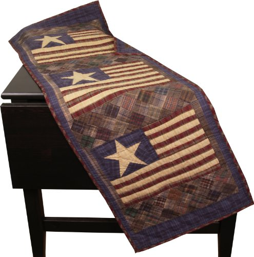 Old Glory Patriotic Table Runner Quilt 50 Inches Long by 17 Inches Wide 100% Cotton Handmade Hand Quilted Heirloom Quality ()