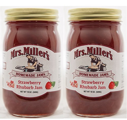 Mrs Miller's Amish Homemade All Natural Strawberry Rhubarb Jam 18 oz - 2 Jars (No Corn Sugar)