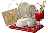 Cheap Chromium- carbon steel plate 2-Tier Dish Rack, 18-Inch Large,red