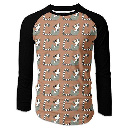 Funny Ring-tailed Lemur Men Fahion Long Sleeve Raglan Baseball T-Shirt Graphic Jersey Tops