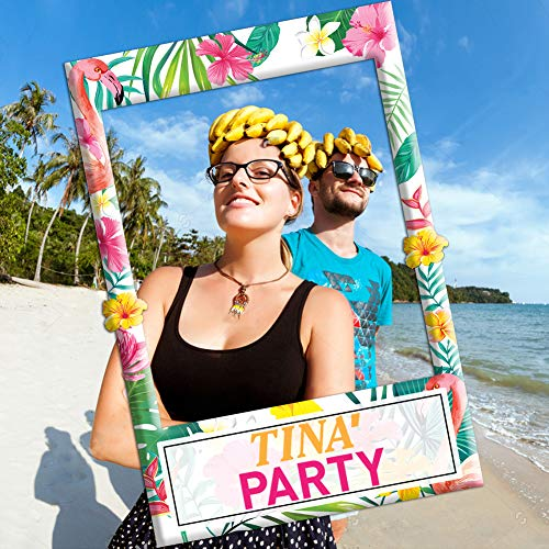 Luau Party Supplies-2 in 1 Luau Photo Booth Props Frame-Luau Birthday Decorations-Party Beach Decorations Hawaiian Party Supplies -