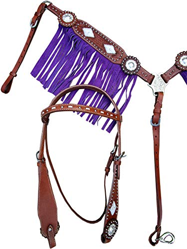 Western Headstall BREASTCOLLAR Silver Concho BUCKSTITCH Purple Fringe Basket Weave Tooled Leather Show Horse Bridle Set Billy Cook Barrel Racing Saddles