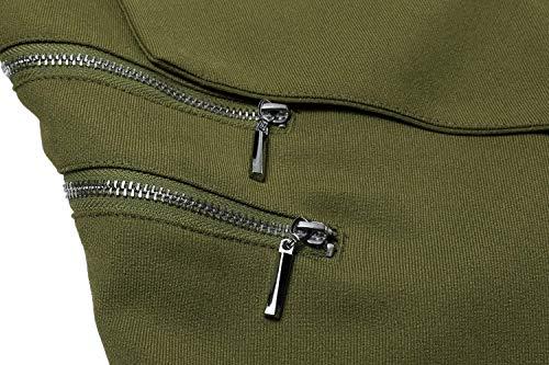 Elegante Cerniera Bavero Giacca Business Autunno Solidi Armee Manica Grün Blazer Laterali A Maglia Colori Donna Tasche Outerwear Moda Di Con Lunga Giaccone ggwztfq