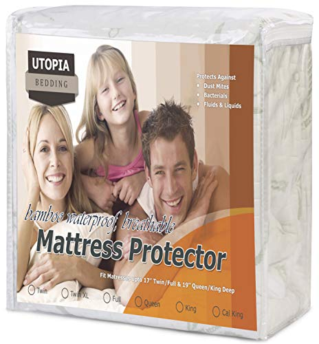 Utopia Bedding Waterproof Bamboo Mattress Protector - Hypoallergenic Fitted Mattress Cover -...