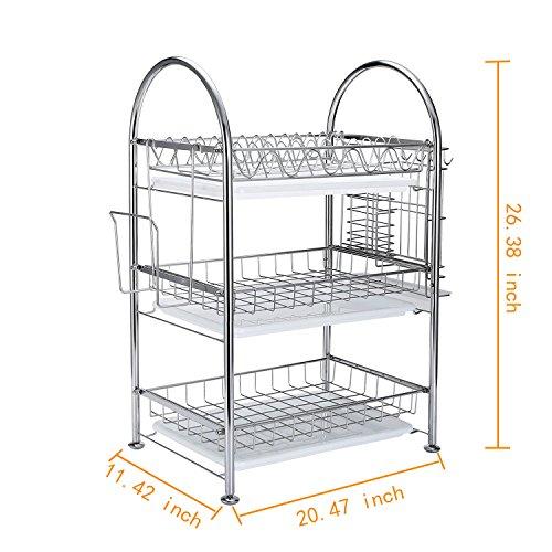 GEYUEYA Home GYHK1042YN Stainless Steel 3-Tier Dish Drying Rack Dish Drainer Kitchen Storage Organization Shlef