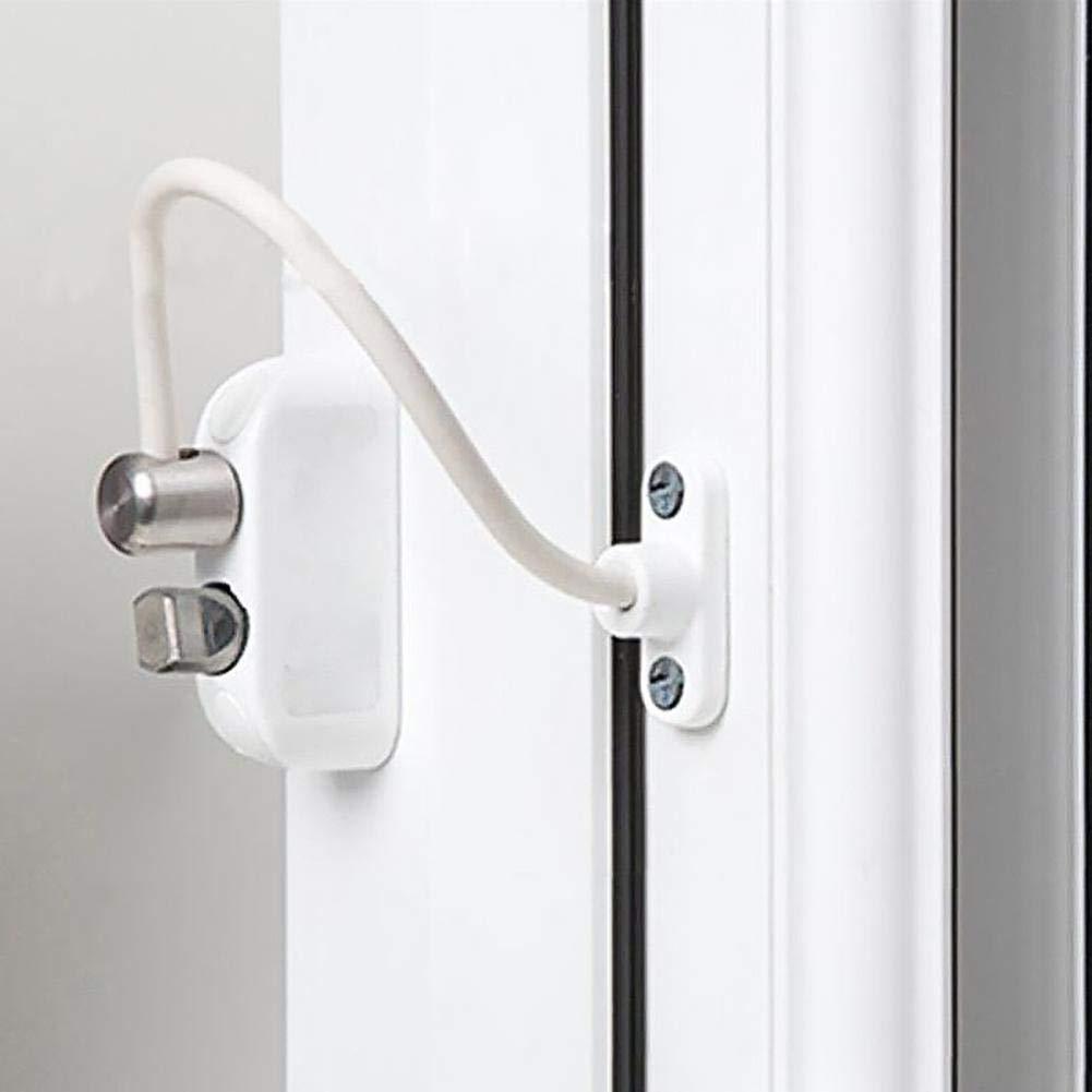 Per Cerrojos y Pestillos para Puertas y Ventanas para Beb/és Pestillos con Cables para Cerradura con Bot/ón Protector de Ventana para Ni/ños
