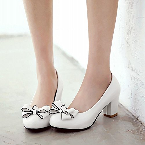 Court Slip Round Heel Shoes Artfaerie with Womens Toe Pumps Shoes Block Sress Bow White Mid on Sweet vxgTWAI