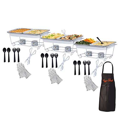 Tiger Chef Full Size Disposable Wire Chafer Stand Kit, Set Includes White Waitress Gloves, White, 40 (Catering Kit)