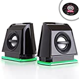 Multimedia 2.0 LED Computer Gaming Speakers with Dual Drivers and Passive Subwoofer - Works with DOTA 2 , Overwatch , Battlefield 1 and More PC Games