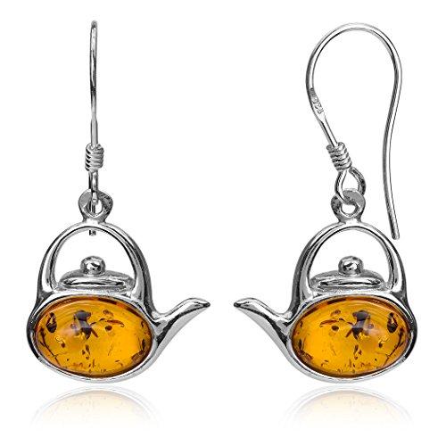 Sterling Silver Amber Teapot Dangle Hook Earrings