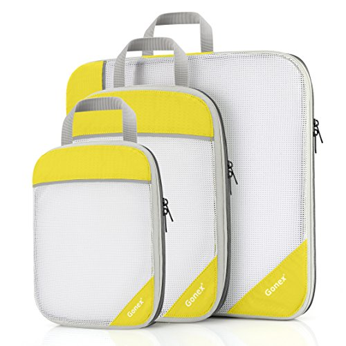 Rays Hanging - Gonex Packing Cubes, Travel Packing Organizers Compression Pouches L+M+S Yellow