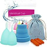 Timkdle 3 pcs/Set Menstrual Cup (Size S + L) and Sterilised Cup with 3 pcs Disposable Latex Finger Protections Women's Feminine Hygiene Cup (Blue)