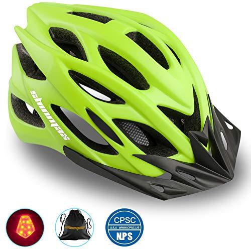 Shinmax Bike Helmet, CPSC Certified Adjustable Light Bicycle Helmet Specialized Cycling Helmet for Adult Men&Women Road and Mountain Bike Helmet with Visor&Rear Light
