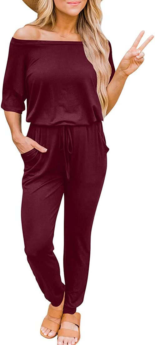 cailami Women's Casual Off Shoulder Jumpsuit Loose Drawstring Waist Club Long Romper with Pockets