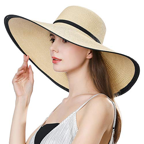 Women Straw Kentucky Derby Sun Floppy Cloche Hat Fedora Summer Beach Wide Brim Packable Beige]()