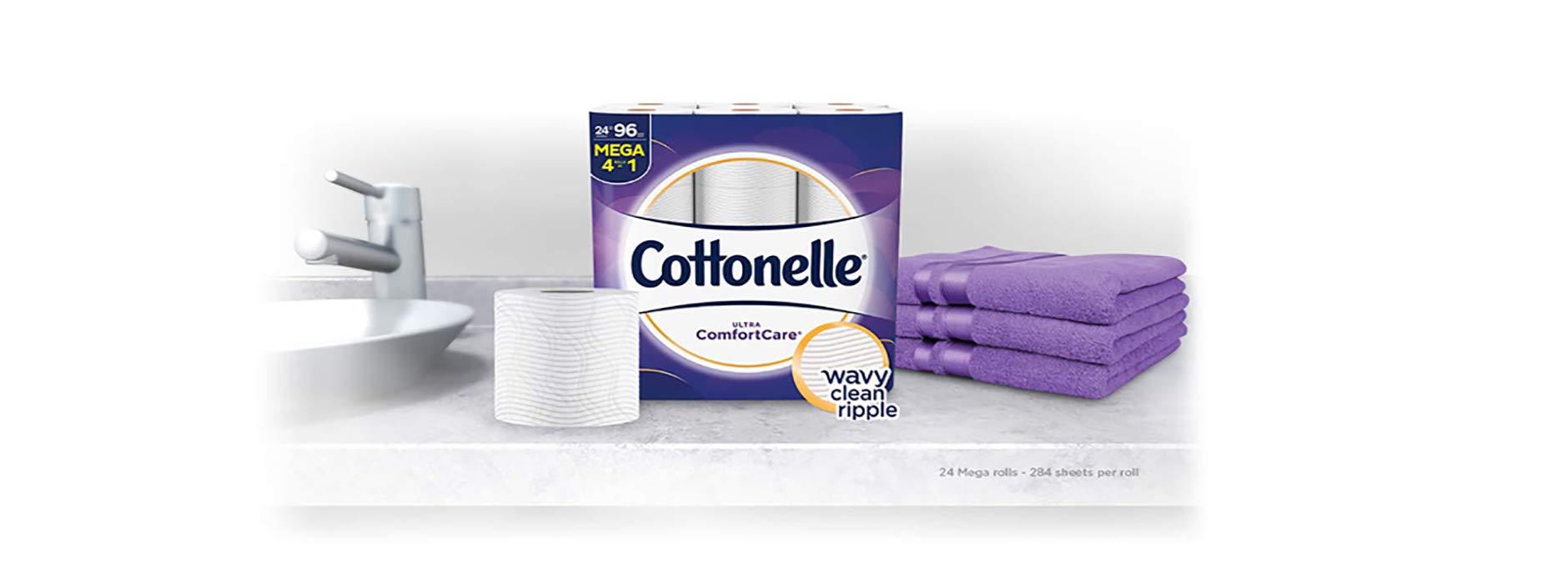 Cottonelle Ultra ComfortCare Toilet Paper, Soft Bath Tissue, Septic-Safe, 24 Mega Rolls by Cottonelle (Image #2)